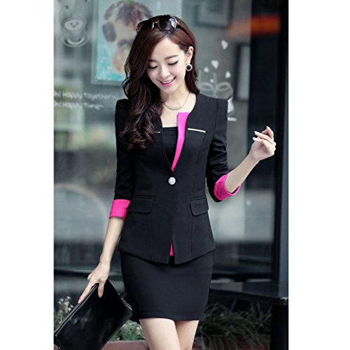 Yinxiang Liying Sexy mince Femme Gilets de tailleur Tailleurs-jupes Noir