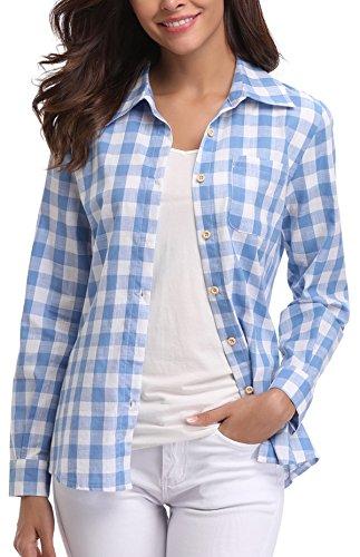 Miss Moly Damen Kariert Shirt Plaid Shirt Casual Oberteil Langarmshirt Blau/Weiß - XS - Baumwoll-plaid Arbeitshemd