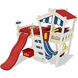 WICKEY Kinderbett mit Rutsche CrAzY Hutty Hochbett mit Dach Abenteuerbett mit Lattenboden, rot-blau + rote Rutsche + weiße Farbe