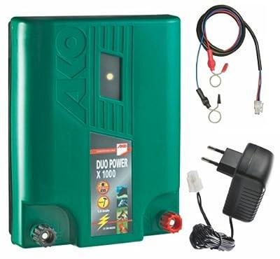 Elektrozaun/Weidezaun-Kombi-Gerät 1 Joule (Netz- oder Akkubetrieb) mit Zubehör und wetterfest von AKO - Du und dein Garten