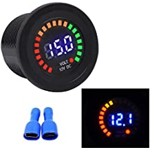 TurnRaise 12V impermeable LED Voltímetro de CD pantalla Digital para Coche Motos Camiones Barco Marina