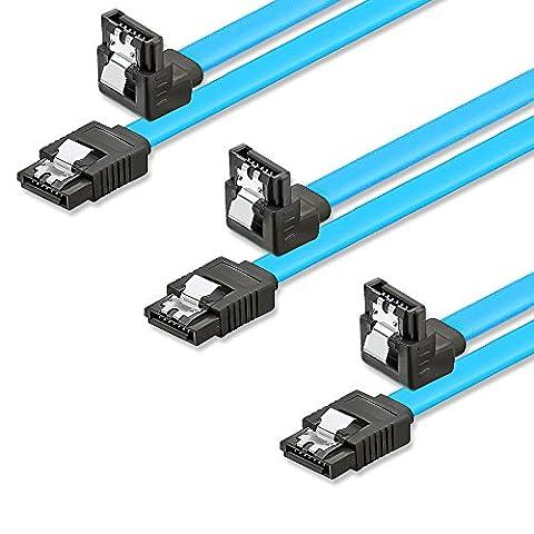 SET - 3x deleyCON [0,5m] S-ATA 3 Winkel-Kabel - PREMIUM SATA 3 HDD / SSD Datenkabel mit Clip - 1x Stecker gerade zu 1x Stecker 90° - Übertragungsraten bis zu 6 GBit/s - Länge: 50cm / Farbe: