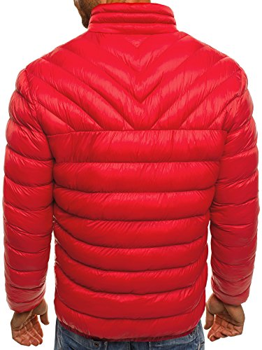 OZONEE Herren Winterjacke Steppjacke Sweatjacke Wärmejacke Jacke Parka Gesteppt J.STYLE X516K Rot_JS-X516K_KU