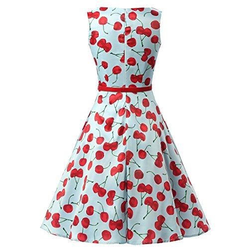 Dresstells 50er Retro Audrey Hepburn Schwingen Pinup Polka Dots Rockabilly Kleid Cherry Blue M -