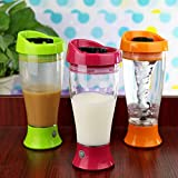 #7: Pink Pari 2 PCS Portable Battery Powered Electric Self Stirring Mug Skinny Moo Mixer Chocolate Milk Coffe Cup