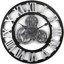 MRKE Wanduhr Groß 50CM XXXL Vintage Holz Lautlos Holz Ohne Tickgeräusche 3D  Retro Gear Design Uhr