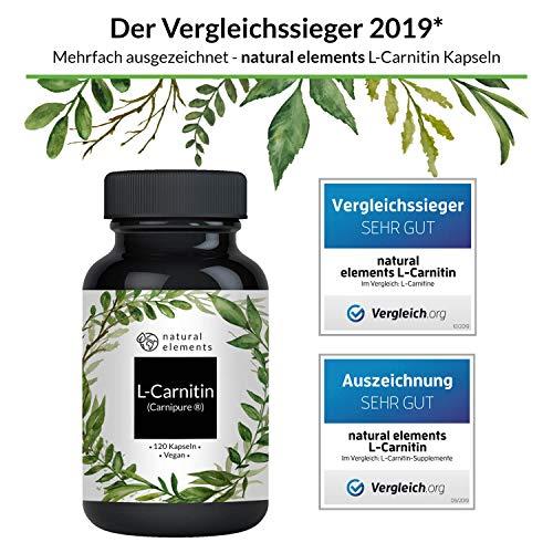 51lXr5%2BcEnL - L-Carnitin 3000 - Vergleichssieger 2019* - Premium: Carnipure® von Lonza - 120 Kapseln - Laborgeprüft, hochdosiert, vegan, hergestellt in Deutschland