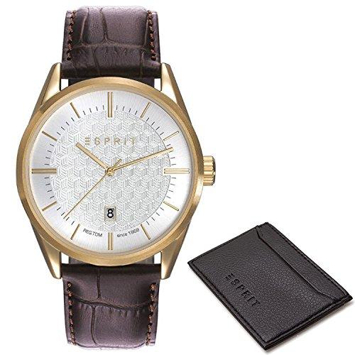 Esprit Mens Analogue Classic Quartz Watch with Leather Strap ES109421002