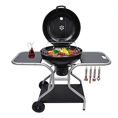 Outsunny New Deluxe Charcoal Trolley Barbecue Grill with Wheels - Black