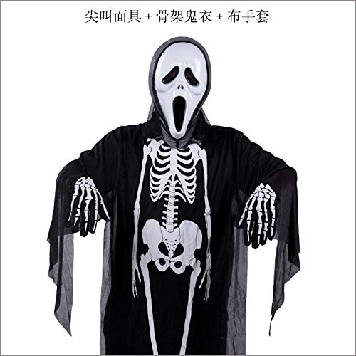 4 Kind Kostüm Scream - Kinder Cosplay Erwachsene Kinder Schädel Skeleton Devil Mask Scream Ghosts Gown Horror Halloween Kostüm Kleidung Set Maskerade@Größe 4_Kinder