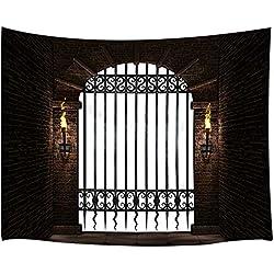KOTOM Castle Tapestry, 3D Arco Medieval del Castillo con Hierro y antorchas Tapices de Pared de Pared Manta Colgante para Dormitorio Living Room Dorm Home Decor, 71 X 60 Pulgadas