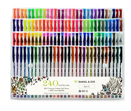 Foto de WELife - 100 bolígrafos de gel de purpurina no tóxicos de colores únicos, perfectos para adultos y niños, libros para colorear, manualidades, álbumes de recortes, dibujos, SecretGarden 240 Colors