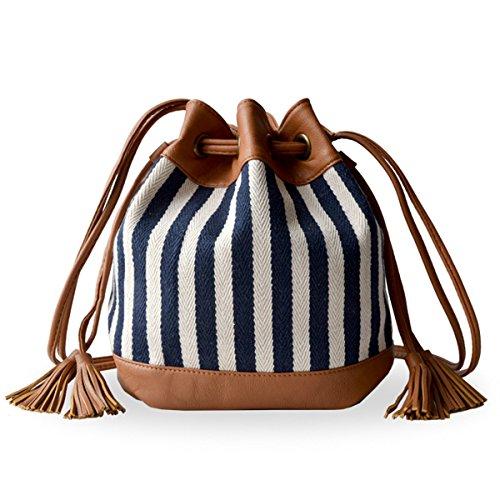 MicBridal® Moderne Nationalen Stil Schultertasche Stroh gewebte Strandtaschen Umhängetasche Taschen Sommer Crossbody Streifen
