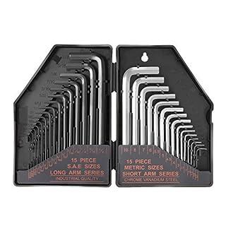 Hex Key 30PCS, Allen Keys, Allen Wrench 15pcs Inch: Black Long Arm Flat End(0.028-3/8