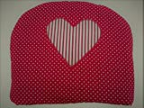 Red Spotty with Striped Heart Shabby Chic Style Tea Cosy