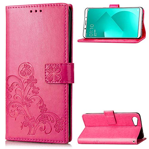 Forhouse Hülle Oppo A83, PU Ledertasche Flip Magnet Brieftasche Kartenfach Etui Mit Standfunktion Ultra Schlanke stoßfest Schutzhülle für Oppo A83 (Rosig)