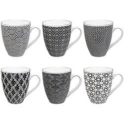 Tokyo Design Studio Nippon Black Tassen Set aus hochwertigem Porzellan. 6-er Set Tassen mit Henkel. Jede Kaffeetasse / Teetasse fasst 300 ml. Elegantes Muster. Spülmaschinenfest. Mikrowellengeeignet.