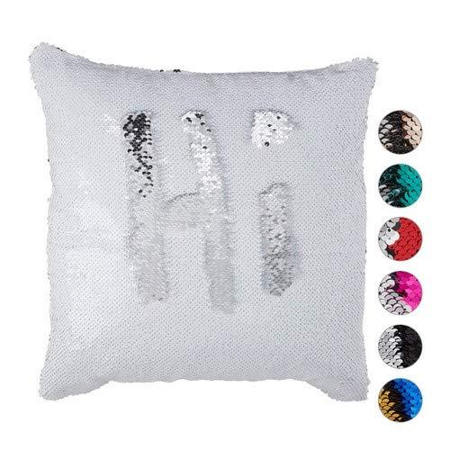 Relaxdays Pailletten Kissenbezug, Glitzer Kissen, zweifarbig, mit Farbwechsel, Zierkissenbezug, 40x40cm, Weiß-Silber