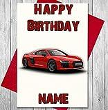 Sport Auto Audi Personalisierte Geburtstagskarte–Jeder Name und Alter Druck auf der Vorderseite