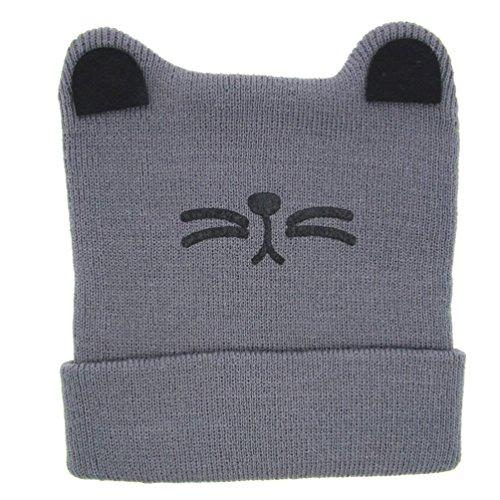 LuckyGirls Mützen Baby Jungen Mädchen elastisch Katzen Ohr Strick Wollgarn Hut (Grau)