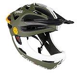 Downhill Helm Fullface Helm Casco Viper MX mit Kinnbügel (olive-weiß, L (58-62 cm))