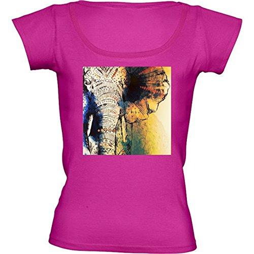 T-Shirt Rose Fushia pour Femme - Col Rond - Taille L - éléphant Afrique cd4e1f082d