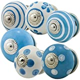 6er Set No. 6-314 blau Möbelknopf Set Jay Knopf ® Möbelknauf Set Möbelknöpfe Set, Möbelgriff Set, Shabby Chic Vintage Retro Keramik Porzellan