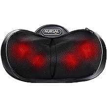 NURSAL 4 Modos 3D Shiatsu Masajeador Amasado profundo Almohada de masaje con calor para el cuello, hombro y espalda Combate la fatiga, rigidez y alivia el dolor en la oficina, casa y coche con bolsa de mano cálida