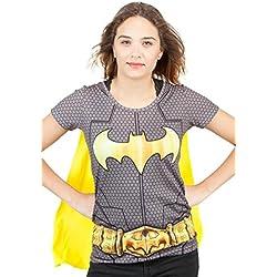 Mujeres Batman Superhero Costume Camiseta con Cabo Negro Medio - EU 36-38 Negro