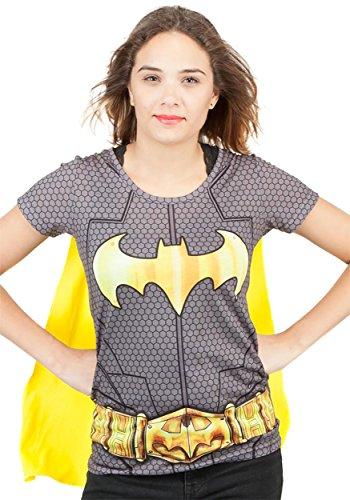Womens Batman supereroe Costume maglietta con il Capo Nero Media - EU 36-38 Nero