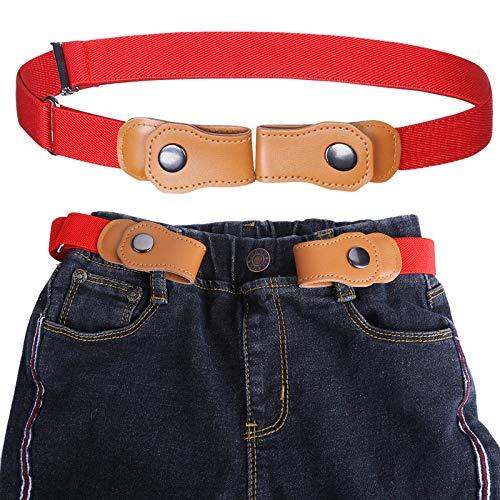 Jungen Ohne Schnalle Elastisch Gürtel - Einstellbar Ohne Schnalle Unsichtbarer Gürtel Passt 50-81 cm Unsichtbare Stretchgürtel für 2-15 jährige Kinder Jeans (Rot) -