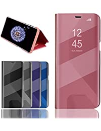 BOSHANDA Coque Etui Samsung Galaxy S9 Plus Case Housse Support à Rabat aClear View Cover Flip Case Miroir Antichoc Téléphone Portable S9 Plus Or Rose