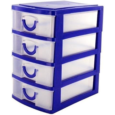 zizzi - Mobiletto con 4 cassetti, per organizzatore scrivania, in plastica, blu