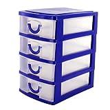 BLUE 4 Drawer Mini Desk Top Storage Small Plastic Office Organiser Box Tiny Trays Shopmonk