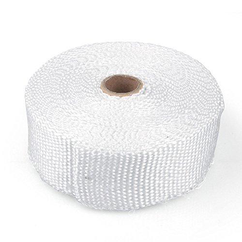 Preisvergleich Produktbild Hitzeschutzband Glasfaser Gewebe, bis 600 Grad, 10 m Rolle, weiß, Auspuffanlagen Fächerkrümmer