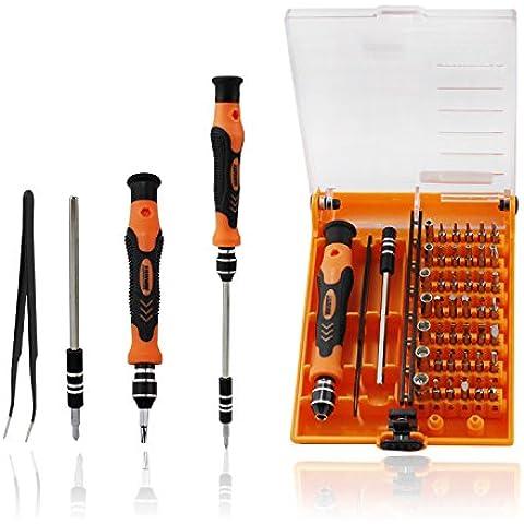 Abcgoodefg® 45 en 1 kit de herramienta de precisión magnético compacto Destornillador apertura portátil Set con pinzas y Extensión Eje para Precise Reparación o