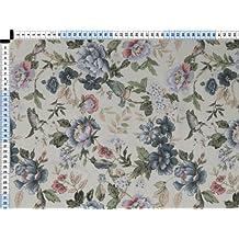 Tela de tapicería, tela de tapicería, tela de tapicería, tela, tela de la cortina, - popurrí II, Linotte, perla blanca azul - mágico impreso tela con flores y pájaros de tela mezclada robusta
