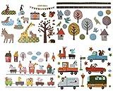 3 Bögen: Wandtattoo / Wandsticker / Fensterbilder - Retro Kinder + Nostalgie - groß - Aufkleber Wandaufkleber für Mädchen Jungen - Bäume Eulen Fahrzeuge Zug Igel Zootiere - Wie bei Großmutter