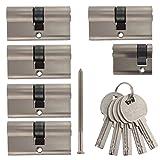 Set8 6x Zylinderschloss gleichschließend 5x 60mm 30/30 Doppelzylinder 1x 40mm 30/10 Halbzylinder inkl.10 Schlüssel