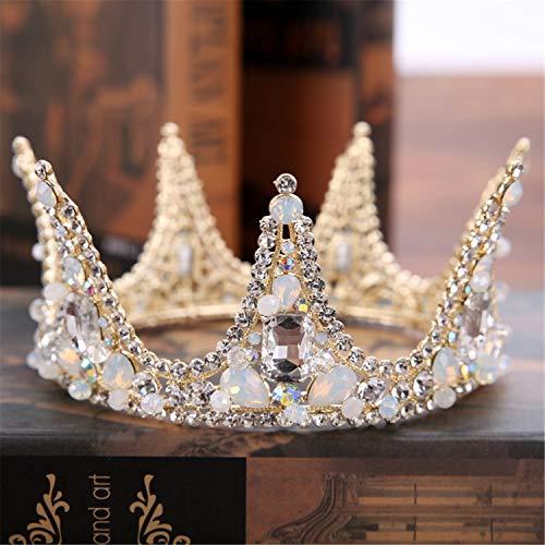 Europäische handgemachte Legierung Diamond Braut große Krone, Braut Brautjungfer Hochzeit Kopfschmuck, volle Krone Kleid Zubehör, Prinzessin Queen Stirnband