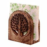 #7: Purpledip Wooden Tissues Holder Organsier 'Tree Of Life' ; Kitchen Dining Accessory (11068)
