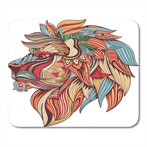 Mouse Pads Colorful Mandala Ethnic Patterned Ornate Head of Lion Black and White Doodle Sketch for Tattoo Africa Mouse Pad