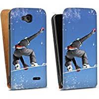 LG L90 Tasche Hülle Flip Case Snowboard Sprung Wintersport