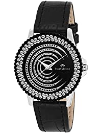 Swisstone VG520BK-BLACK Black Dial Black Leather Strap Analog Wrist Watch For Women/Girls