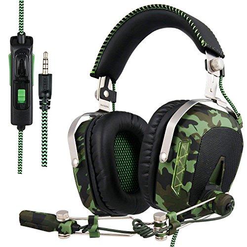SADES SA926T Stereo Gaming Headset für PS4 Neue Xbox One, Bass Over-Ear Kopfhörer mit Mikrofon und Inline-Lautstärkeregler für Laptop, PC, Mac, iPad, Computer, Smartphones (Tarnung)