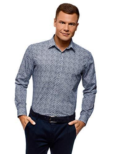 Oodji ultra uomo camicia basic aderente, blu, 42cm / it 50 / eu 42 / l