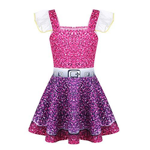 Agoky Kinder Mädchen Ballerina Kleid Puppe Kostüm Ballett Prinzessin Kleid Überraschung Halloween Kostüm Weinachten Verkleidung gr. 92-146 Pink&Violett 140-146(Brust 70cm)