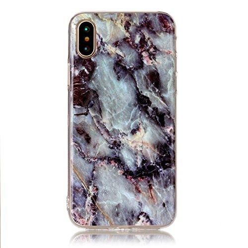 Slynmax Marble Style TPU Cover per iPhone X Custodia Silicone Caso Molle di Morbida Sottile TPU+IMD Gel Transparent Bumper Case Protettiva Caso Chiaro Copertura Slim Thin Skin Shell Protezione per iPh Modello #12