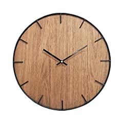 Idea Regalo - Rebecca Mobili RE6142 Orologio Decorativo, MDF/Metallo, Marrone, 40 x 4.5 x 40 cm
