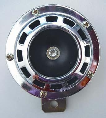 Klaxon moto chromé - 105 db - 12 V - diamètre 88 mm